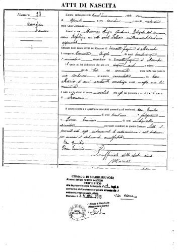 francesco caredda, sardaigne, sarde, marrubiu, Terralba, maria CAU, Taranto,